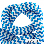 Maritime cord 10mm (3x30cm) White-Capri Blue