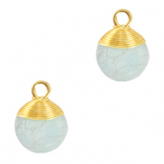 Natural stone charms wire wrapped Haze Blue-Gold