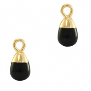 Natural stone charms drop Black-Gold