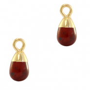 Natural stone charms drop Terracotta Brown-Gold