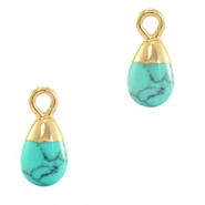 Natural stone charms drop Marble Turquoise-Gold