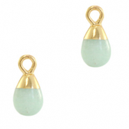 Natural stone charms drop Ocean Green-Gold