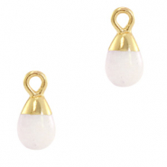 Natural stone charms drop White Rose-Gold