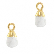 Natural stone charms drop Marble White-Gold