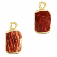 Natural stone charms rectangle Terracotta Brown-Gold