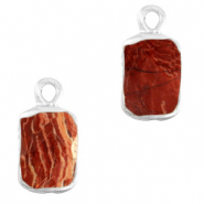 Natural stone charms rectangle Terracotta Brown-Silver