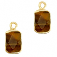 Natural stone charms rectangle Topaz Brown-Gold