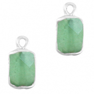 Natural stone charms rectangle Ocean Green-Silver
