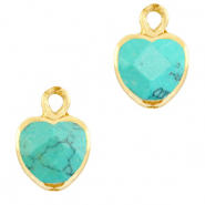 Natural stone charms heart Marble Turquoise-Gold