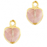 Natural stone charms heart Blossom Pink-Gold