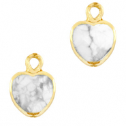 Natural stone charms heart Marble White-Gold