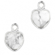 Natural stone charms heart Marble White-Silver