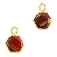Natural stone charms hexagon Terracotta Brown-Gold