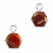 Natural stone charms hexagon Terracotta Brown-Silver