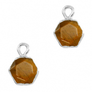 Natural stone charms hexagon Topaz Brown-Silver
