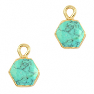Natural stone charms hexagon Marble Turquoise-Gold