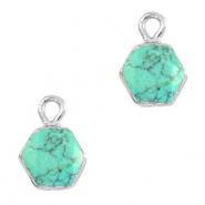 Natural stone charms hexagon Marble Turquoise-Silver