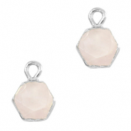 Natural stone charms hexagon White Rose-Silver