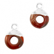 Natural stone charms circle 10mm Terracotta Brown-Silver