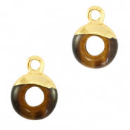 Natural stone charms circle 10mm Topaz Brown-Gold