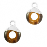 Natural stone charms circle 10mm Topaz Brown-Silver