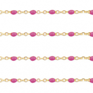 Stainless steel findings belcher chain 1mm Magenta Purple-Gold