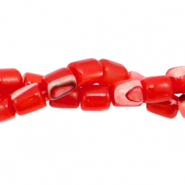 Shell beads tube Fiery Red