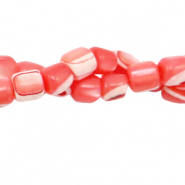 Shell beads tube Coral Red