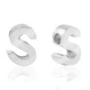 Stainless steel beads letter S Silver