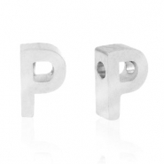 Stainless steel beads letter P Silver