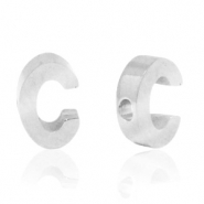 Stainless steel beads letter C Silver