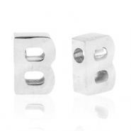 Stainless steel beads letter B Silver