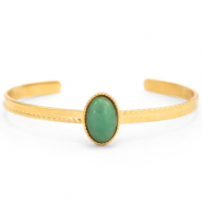 Stainless steel bracelets with Green Aventurine Gold-Green