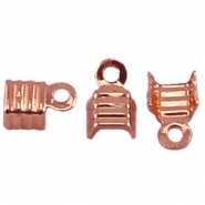 DQ fold over cord ends 4mm Rose gold plated