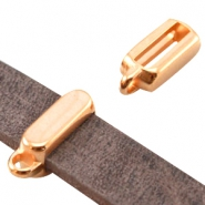 Tetragon DQ metal slider with loop (for 10mm flat DQ leather) Rose gold (nickel free)