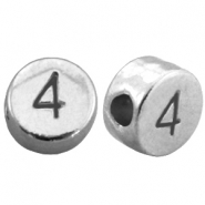 DQ metal number beads # 4 Antique silver (nickel free)