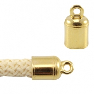 DQ metal end cap with loop for 5mm (Dreamz) cord Gold