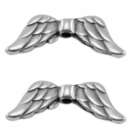 DQ metal bead angel wings Antique silver (nickel free)