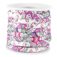 Trendy stitched cord 5.5x4mm Fuchsia green