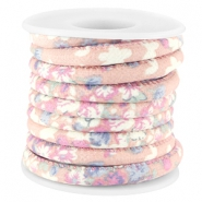Trendy stitched flowery cord 5.5x4mm Antique pink