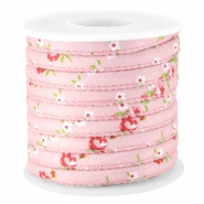 Trendy stitched flowery cord 5.5x4mm Rose