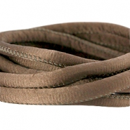Stitched DQ silk cord 6x4mm Dark brown