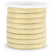 Trendy stitched Jean-Jean cord 6x4mm Golden beige