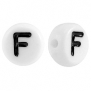 Acrylic letterbeads letter F White