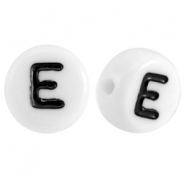 Acrylic letterbeads letter E White