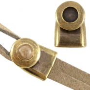 DQ metal end cap/clasp for 7mm cabochon and Swarovski SS34 ( for 2x5mm wire/leather) Antique bronze (nickel free)