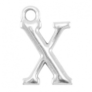 DQ metal lettercharm X Antique silver (nickel free)