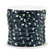 Trendy stitched cord 6x4mm Dark blue