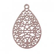 Drop shaped bohemian pendant with loop Aubergine brown