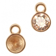 DQ charm / setting with one loop for SS24 chaton Rose gold (nickel free)